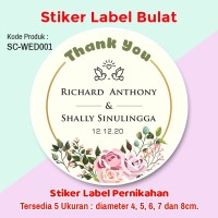 Stiker Label Pernikahan Wedding Tumpeng Mini Souvenir Bento Merpati