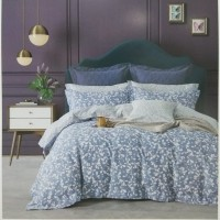Sprei+Bedcover Katun Jepang Warna Biru Custom Size 160x200x30