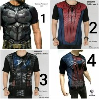 Baju Kaos Superman Spiderman Super Hero Gym Fitness Pria Cowok