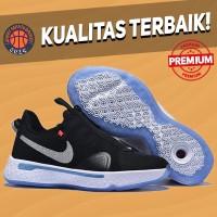 Sepatu Basket Sneakers Nike PG 4 Black White Silver Pria Wanita
