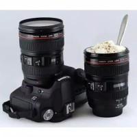 Mug lensa kamera + pouch Canon tumbler unik gelas cup