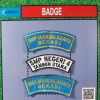 lokasi/badge/bet/atribut bordir logo sekolah 2 baris grosir custom