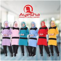 Setelan Pakaian Olahraga Senam Variasi Muslimah Baju Wanita Sport - M, Biru