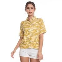 Insight Kemeja Wanita Lengan Pendek Kuning Palm Tress Shirt Short