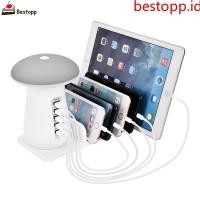 Bestopp Stand Holder Charging Dock 5 USB Slot untuk Handphone+Plug