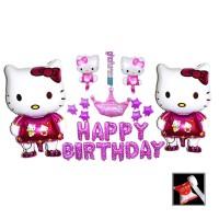 Paket Dekorasi Ulang tahun Hello kitty - backdrop happy birthday hello