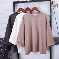 Musim Gugur Kaos T-Shirt Wanita Lengan 3 / 4 Model Oversize Round