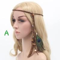 Hiasan Kepala Bulu Indian / Bandana Rambut Bohemian Boho Headband