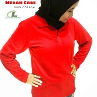 Poloshirt Wanita Big Size Lengan Panjang Krah Kaos Polo Shirt Polos