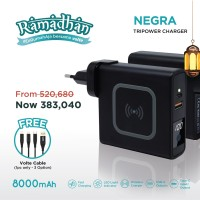 VOLTE NEGRA ( FREE KABEL ) Tripower Charger 8000mAh Fast Charging