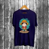 Kaos Navy Gambar Luffy 3 (OP) / Baju Distro Pria Keren Grosir Murah