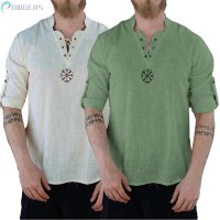 Pria Kaos T-Shirt Lengan Pendek Casual Musim Panas Motif Bordir Boho
