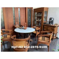 kursi teras betawi kuno dan meja marmer srjm