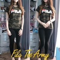 Kaos Wanita Fila Army - Baju Kaos Kekinian - Baju Atasan - Kaos Lengan