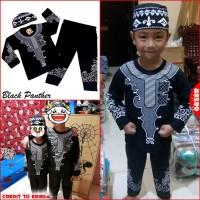 dimasge Baju Koko BLACK PANTHER Pakaian Muslim Anak Laki Premium Mewah