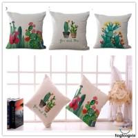 Ixn-45cm Sarung Bantal Bahan Katun Linen Motif Print Kaktus untuk