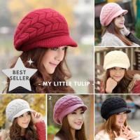 Topi Rajut Bulu Winter Dewasa Remaja Ibu Mama Kupluk Wool Hat Fur Cap
