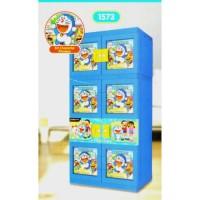 Unik Lemari Plastik Gantung Naiba 1573 Doraemon 3D Kunci Diskon