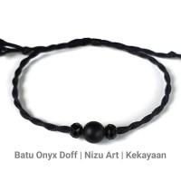 Gelang Batu Onyx Hitam Doff Tali Etnik Handmade Pria Wanita Couple