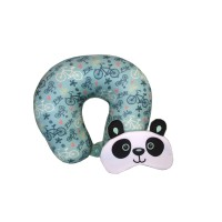 Bantal Leher - Microbeads Travel Pillow with Eyemask - Green