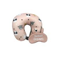 Bantal Leher - Microbeads Travel Pillow With Eyemask - Pink