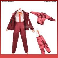 Ra 2Pcs/Set Baju Boneka Ken Setelan Jas Warna Merah Anggur