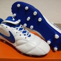 Sepatu Bola - Soccer Nike Tiempo Premier II Leather White Blue - FG