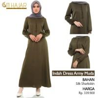 Baju Wanita Gamis Siti Hajar Indah Dress Army Muda