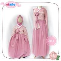 (Couple Mom & Kids) ZB 1 Baju Muslim Gamis Oh Baby Hanbok Bolero Pink