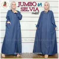 Baju gamis wanita muslim busui bahan jeans jumbo terbaru - Selvia