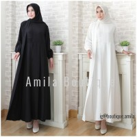 Baju Gamis Wanita Hitam Putih Polos/ Dress Muslim Alena Lengan Panjang