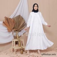 Long Dress Muslim Alena Putih Polos / Baju Gamis Wanita Terbaru