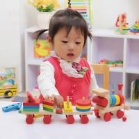 Balita Mainan Edukatif Balok Susun Kayu Solid Kereta Tumpuk untuk