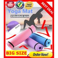 Matras Yoga 4mm ANTI LICIN Tikar Empuk Yoga Pilates Mat PREMIUM BLACK