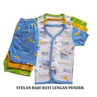 ISI 3 Baju stelan piyama bayi newborn pasangan lengan pendek Makassar