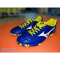 Sepatu Futsal Mizuno Monarcida 2 FS IN Blue Volt Skill Dribble Messi