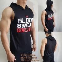 ( SH-BLOOD ) Singlet Hoodie Topi Gym fitnes / baju olahraga pria sport