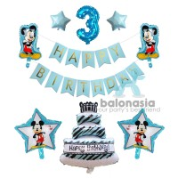 Balon Foil Mickey Ulang Tahun Banner Biru - 1