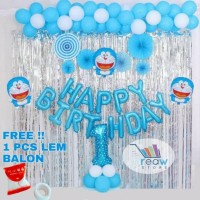 Paket Dekorasi Hiasan Balon Ulang Tahun / Happy Birthday Doraemon 01