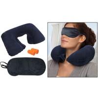Bantal Leher Tiup & Tutup Mata Telinga Travel Pillow Set - KS