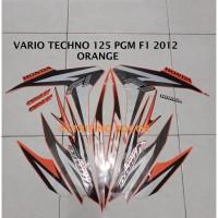 Striping Stiker Motor Honda Vario Techno 125 F1 2012 Lis Orange