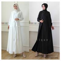 Gamis Wanita Robe Layer Plisket / Dress Muslim Prisket Busui Putih BW