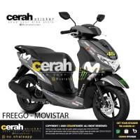 Decal stiker stripping motor Yamaha freego movistar silver 2 cerah sti