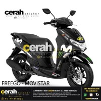Decal sticker stripping motor Yamaha freego movistar black cerah stike