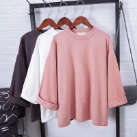 Kaos T-Shirt Wanita Lengan 7 / 8 Model Casual Longgar Versi Korea