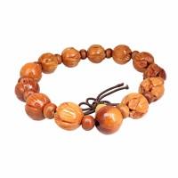 Natural Wood Carved Lotus Flower Buddha Beads Bangle Handmade