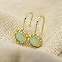 Anting Gantung Lapis Emas dengan Batu Opal untuk Wanita