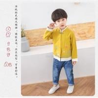 Baju Setelan Anak Laki OK129 Imlek Cheongsam Kuning Celana Jeans TEENS
