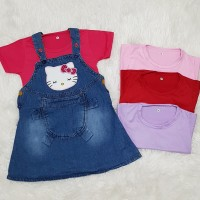 Baju Anak Bayi Perempuan Baju Kodok Overall Dress Jeans Hellokitty