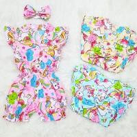 Baju Bayi Perempuan Jumsuit Romper Unicorn Littlepony Set Bandana